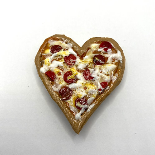 Heart Shaped Pepperoni Pizza Magnet