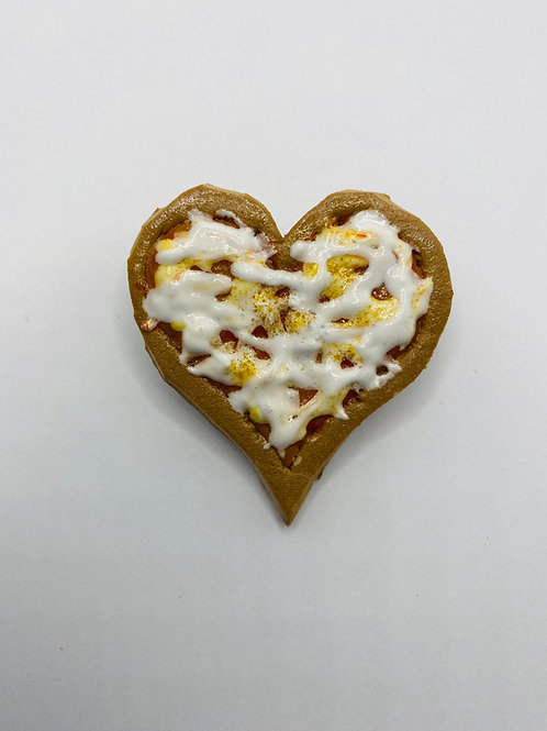 Heart Shaped Cheese Pizza Magnet