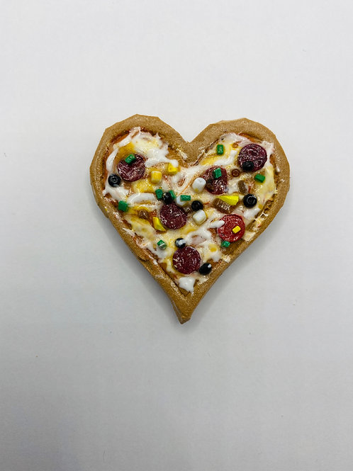 Heart Shaped Supreme Pizza Magnet