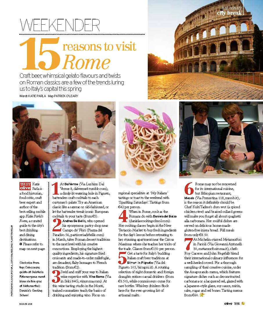 """Olive Magazine """"15 Reasons to Visit Rome"""" featuring Chef Daniela's Roman Cooking Classes"""
