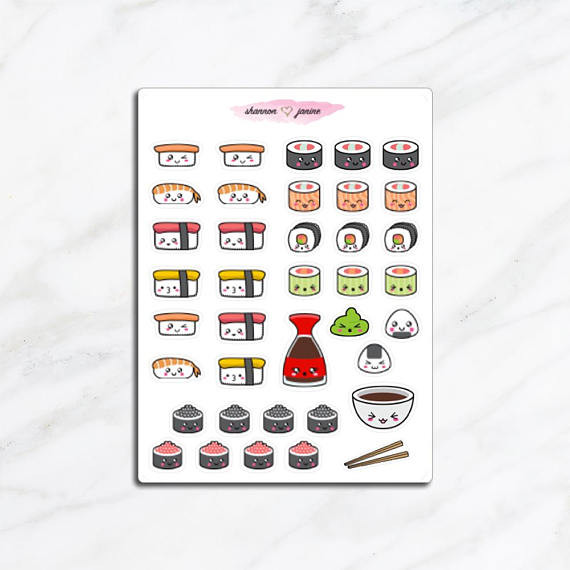 Every note will be more inspired with some sushi stickers