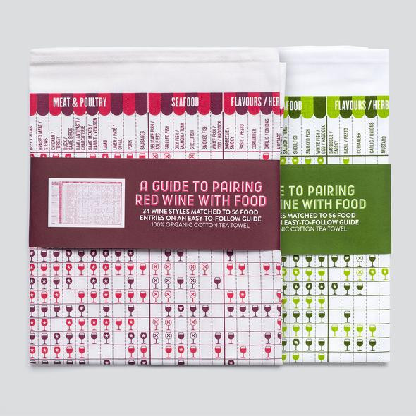 Never question your food pairings again. These wine pairing towels will make it easy to figure out what that Bordeaux will match with!