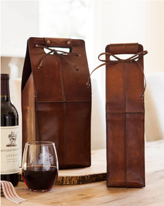 This leather wine tote comes in handy