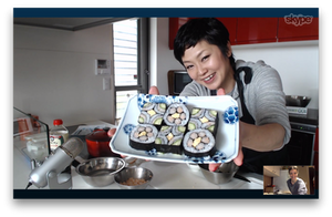 Chef Yoshimi of TOKYO KITCHEN Cooking School, conducting a private online cooking class with The Chef & The Dish