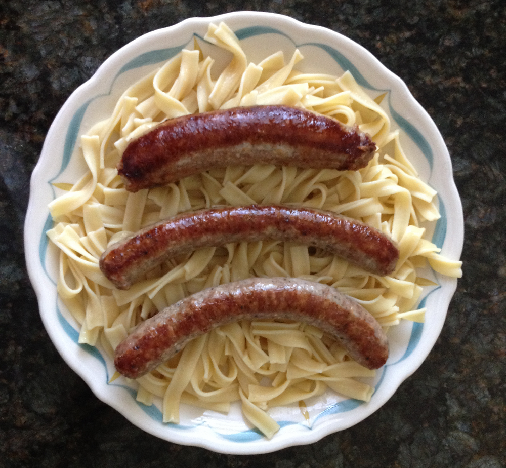 My father's Bratwurst with Buttered Noodles is one of the regulars at home