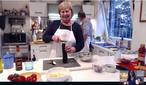 Chef Daniela teaching me how to make Pasta alla Norma, a traditional Sicilian pasta dish