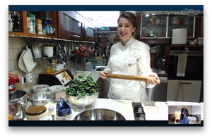 Chef Paola of Milan, Italy conducting an online cooking class with The Chef & The Dish