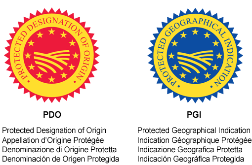 Look for these DOP or IGP labels when buying packaged products