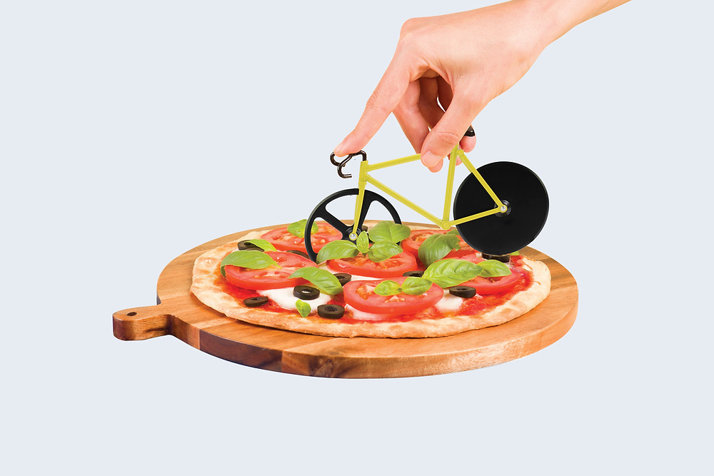 Cut your pizza with a bicycle, because why not?