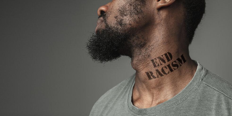 Close up black man tired of racial discr