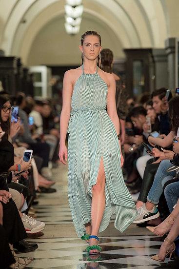 'PS001' Stripe halter neck dress