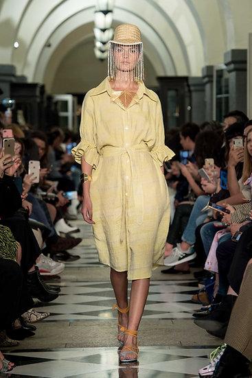 'L001' Linen shirt dress with Purepecha artisan woven tape