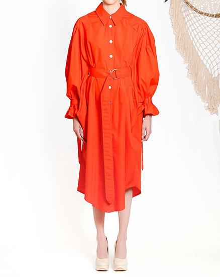 `SD001` Volume shirt dress with Purepecha woven tape
