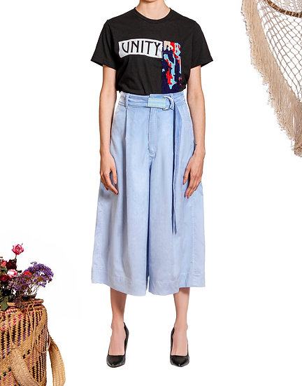 `SC001`Suede culotte with Purepecha woven tape belt
