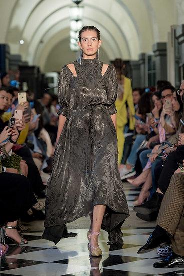 'BA004' Palm jacquard volume sleeve dress with Huichol artisan beads