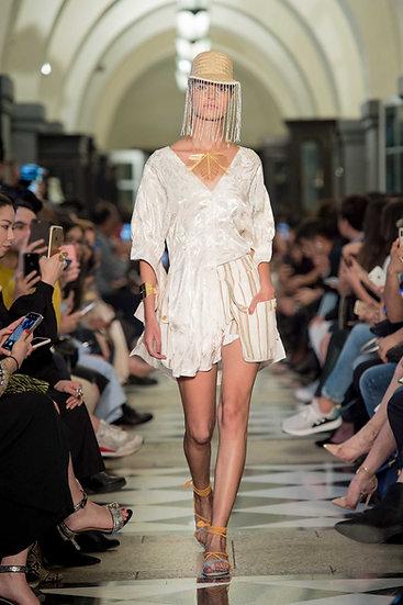 'BZ001' Palm jacquard volume sleeve tunic blouse