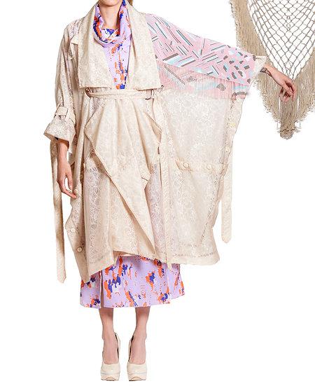 `BC002` Lace blanket coat with Huichol artisan beads