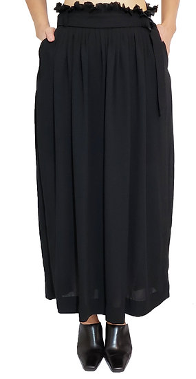 Multi-tucked wide chiffon pants