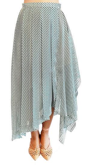 'PS002' Stripe asymmetrical skirt