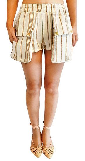 'DG003' Linen stripe big pocket shorts