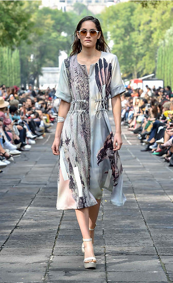 'La fuerza' Double print zip-up dress