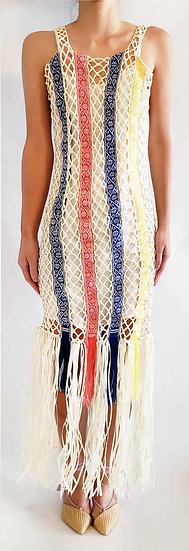 Hand knitted dress with Purepecha artisan woven tape
