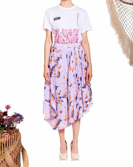 `PS001`Unity print pleated skirt
