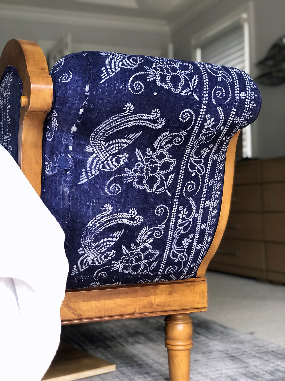Indigo Fabric On Antique Chaise