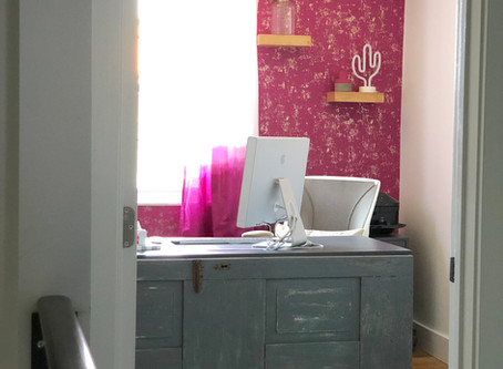 Ombre Curtains & Modern Accent Wall Light Up a Home Office