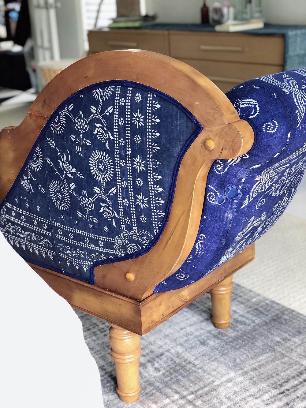 Indigo Fabric upholstery DIY Modern