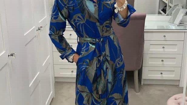 Kate + Pippa royal blue leaf print dress