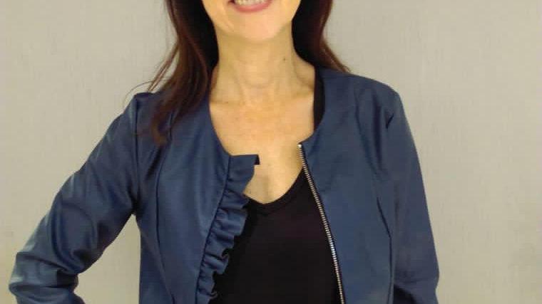 Kate + Pipa navy leatherette jacket