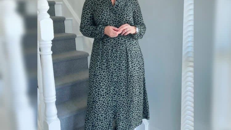 Akoz de toi khaki leopard print dress
