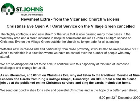 Christmas Eve Open Air Carol Service on the Village Green cancelled