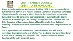 Clerk to be Honoured Surrey's Certificate of Appreciation