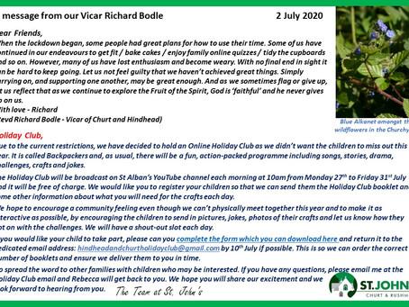 St John's Church  Richard's message 2 July