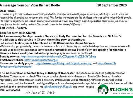 St John's Church  Richard's Message 10 September