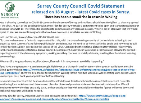 Surrey County Council Covid Statement 18 August
