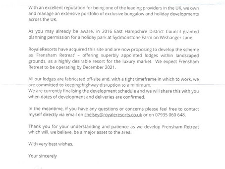 Local residents received this letter this morning from Royale Life.