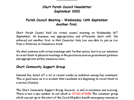Churt Parish Council Newsletter Sept 2020