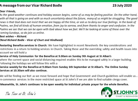 St John's Church  Richard's Message 23 July 2020