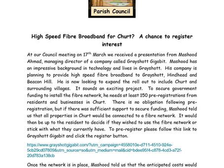 High Speed Fibre Broadband for Churt