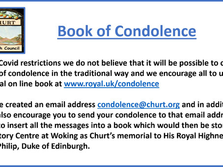 Book of Condolence for His Royal Highness Prince Philip, Duke of Edinburgh.