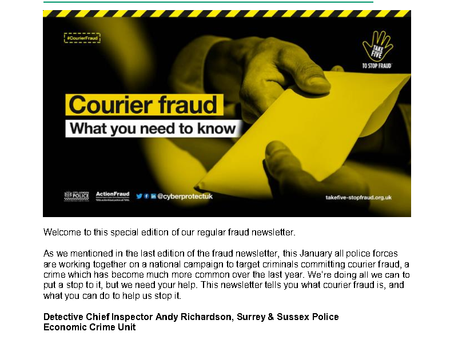 Fraud Newsletter Jan 2020 Courier Fraud Special