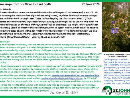 St John's Church  Richard's message 26 June