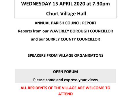 Annual Parish Meeting Wed 15th April 2020 at 7:30pm