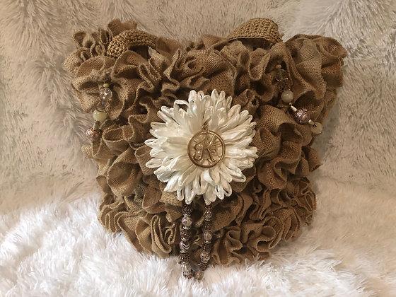Bejeweled Gardenia Hobo - Tan