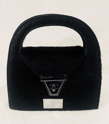 Black Cowhide Mini Crossbody Bag