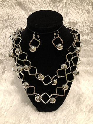 Square Bizz Double Chain Necklace Set Silver-Tone
