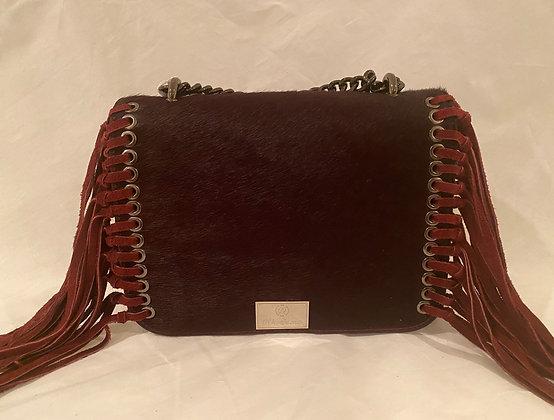 Burgundy Cowhide/Leather Fringe Handbag